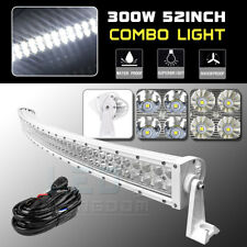 """300W 52"""" Curved Combo Offroad Work LED Light Bar Driving DRL SUV 4WD Boat Truck"""