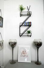 Black Steel Fire Escape Wall Shelving Unit Bathroom Shelves Home Storage Rack