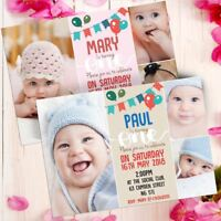 10 Personalised Photo Boys Blue First 1st Birthday Party PHOTO Invitations