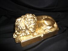 "Antique Cast Iron Gilded Gold Sleeping Lion Door Stop 8""Lx4 1/2""Hx3 1/4""W"