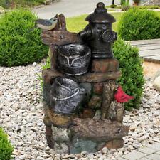 Außen Zier Spring Brunnen Stein Kaskade Eimer Optik Grundstück Vögel Wasserspiel
