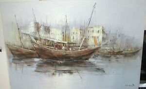 YOUNG WOO CHINESE FISHING PORT SCENE LARGE ORIGINAL OIL ON CANVAS PAINTING