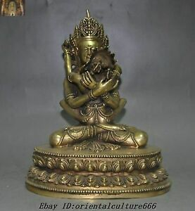 "9"" Tibetan Tantra Buddhism Brass Yab-Yum Mandkesvara Hevajra Happy Buddha Statue"