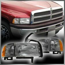Headlights Headlamps Side Marker Lights Pair Set of 2 for 94-01 Ram Pickup Truck
