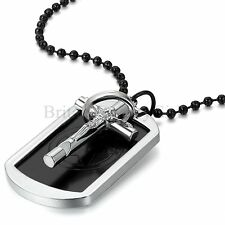 "Mens Military Jesus Cross Dog Tag Photo Frame Pendant Necklace 27.5"" Ball Chain"
