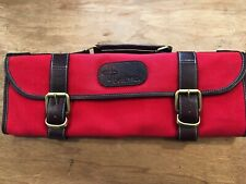 Boldric 9 pocket Canvas Knife Bag with zip pocket, New, Red