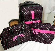 J Garden 3 Piece Luggage Set Large Rolling Suitcase Overnight Bag and Tote EUC