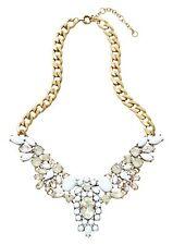 Happiness Boutique Statement Kette Große Steine Weiß Damen Halskette Goldfarbe