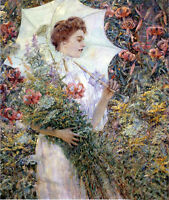 Art Oil painting Robert Lewis Reid - The White Parasol Young girl with flowers
