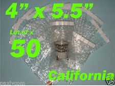 """50) 4X5.5 Bubble Out Pouches Bags Wrap Self Seal Self Sealing 4""""x5.5"""" Protective"""