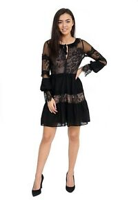 Women's Black Dress Nude Lining Detailed Lace Work and Invisible Side Zip 8-12
