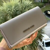 Michael Kors Womens Leather wallet  Credit Card Holder ID Pearl Grey Silver