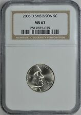 2005-D SMS BISON NICKEL 5c NGC MS67