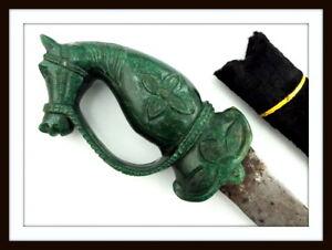 ANTIQUE ISLAMIC INDIAN PERSIAN DAMASCUS SHAMSHIR SWORD WTH LARGE JADE HORSE HILT