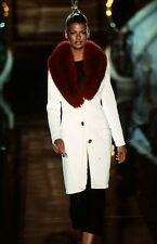 GIANNI VERSACE COUTURE Pre-Owned Beige Angora/Wool Coat Red Fox Fur IT 42 US 6-8