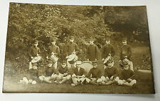 Vintage RPPC Real Photo Postcard Young Men's Drummer Band On Grass Field