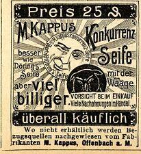 M. Kappus Offenbach a. M. KONKURRENZ SEIFE  Historische Reklame von 1895