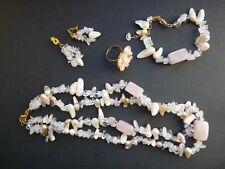 Juego Cuarzo rosa Cristal de roca Nácar 5 piezas Nuevo
