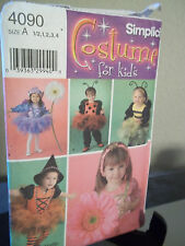 Simplicity 4090 Toddler Costumes Sewing Pattern Sizes .5 1 2 3 4 FF Uncut