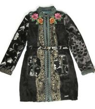 **RARE**  Desigual Long Black Asian Embroidered Coat Flower Collar Size 40