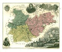 Réédition de gravure ancienne carte région département français Tarn & Garonne