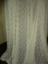 VINTAGE JCP COUNTRY COTTAGE FLORAL LACE NATURAL/IVORY (2) WIDE PANELS 114 X 90