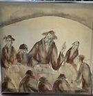 SIGNED, FRAMED, JUDAICA PAINTING ON CANVAS, ARTIST MOSHE KATZ, 37 W X 37 H