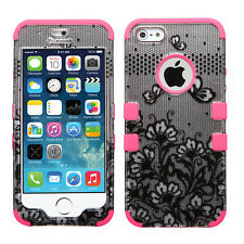 Apple iPhone 5S SE Rubber IMPACT TUFF HYBRID Case Cover Black Lace Flowers Pink