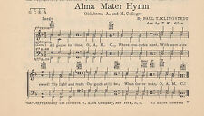 "Vtg OKLAHOMA STATE UNIVERSITY song sheet  ""ALMA MATER"" c 1936 - OK A&M COLLEGE"