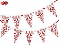 Christmas jumper white reindeer pattern Bunting Banner 15 flags by PARTY DECOR