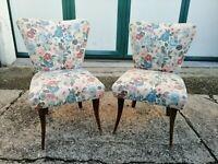 Coppia di poltrone tessuto floreale metà XX secolo 75 cm(h) poltrona sedia sedie