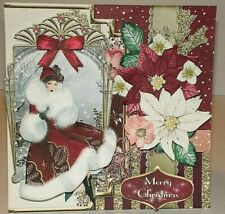 Handmade Greeting Card 3D Christmas With An Art Deco Lady And Poinsettias