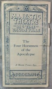1921 Rudolph Valentino Film Program Four Horsemen of the Apocalypse Dallas Texas
