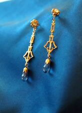 Ohrringe Gold Aquamarin Art Deco Antik Jugendstil