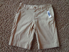 OLD NAVY girl's NWT sz 7 bermuda cotton/spandex khaki shorts w/adjustable waist