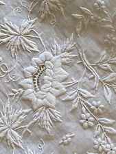 1840 Ladies Fine French White Work Embroidered Wedding Hankie Monogram