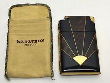 Vintage Art Deco Marathon Cigerette Lighter & Cigarette Case With Cloth Cover