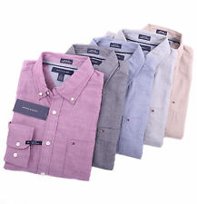 Tommy Hilfiger Men Long Sleeve Custom Fit Solid Button Down Casual Shirt | NEW