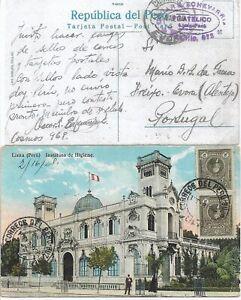 1928 - Peru - Photo Post Card from Lima to Evora, Portugal