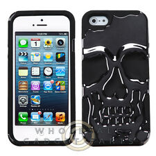 Apple iPhone 5S/SE Hybrid Skullcap - Gun Metal Plating/Black Cover Shell Protect