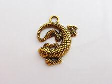4 x antique or lézard gecko salamandre conclusions charmes pendentifs 30mm x 24mm