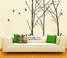 """Wall Decor Decal Sticker Removable Staggered Branch Tree Trunk birds 96"""" DC367"""