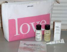 PHILOSOPHY Face Cleanser, Body Emulsion, Eye Cream, LOVE Cosmetic Bag Travel KIT