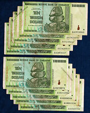 10 Trillion Zimbabwe Dollars X Banknotes Authentic Aa 2008 Lot 100