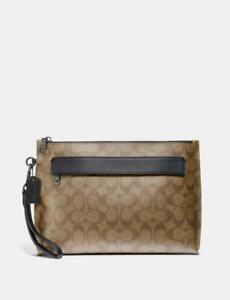 NWT COACH Men's Carryall Pouch In Signature Canvas