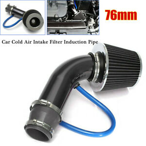 76mm CNC Alloy Car Cold Air Intake Filter Pipe Power Flow Hose System Universal