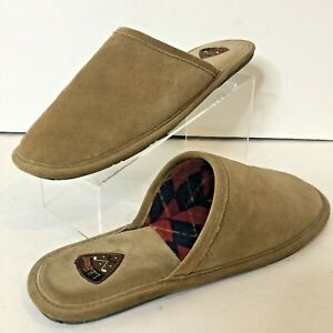 LB Evans HOUSTON HIDEAWAYS SCUFF MULE/SLIPPERS COMFY TAN/BROWN PLAID LINING GOLF
