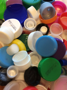 100 Plastic Bottle Caps Lids Tops Craft Art Projects Mixed Color Sizes Upcycle