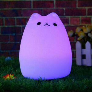 Cute Silicone Cat LED Night Light Soft Cartoon Baby Kid Nursery Lamp 7 Color
