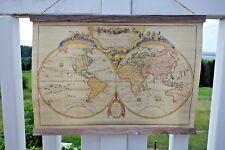 Nostalgie Weltkarte Druck Auf Leinen Wandbild Wanddeko 44 x 60cm Retro Stil nr.3
